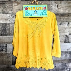VINTAGE Funky Sparkling Gold/Yellow Top